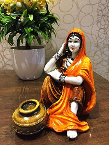 Karigaari Rajasthani Lady with Water Matka Showpiece Polyresine Showpiece (15.24 cm x 15.24 cm x 15.24 cm)