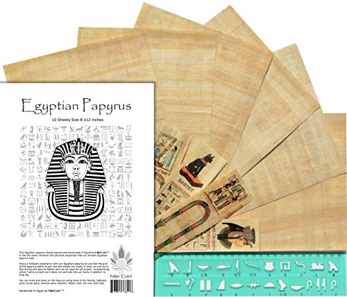 489f5f2c40bd NileCart Egyptian Papyrus Blank Sheets 8 x12 in with Hieroglyphic Alphabet  Stencil Ruler & Bookmarks (10 Sheets)