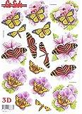 Schmetterlinge auf Blüten - 3D Stanzbogen