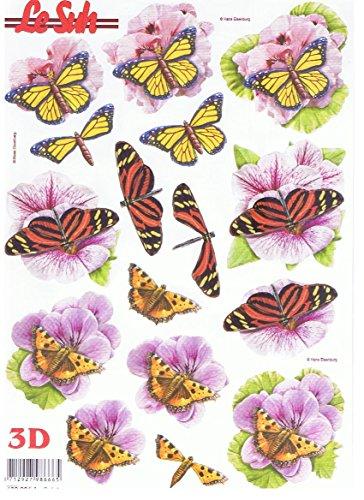Schmetterlinge auf Blüten (680.006) - 3D Stanzbogen