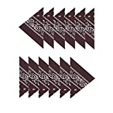 Boolavard 100% Baumwolle, 1er 6er, oder 12er Pack Bandanas mit original Paisley Muster | Farbe nach Wahl Headwear/Haar Schal Ansatz Handgelenk Verpackungs Band Kopf Bindung (12er Braun)