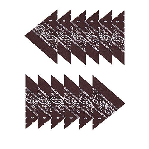 Boolavard Boolavard 100% Baumwolle, 1er 6er, oder 12er Pack Bandanas mit original Paisley Muster | Farbe nach Wahl Headwear/Haar Schal Ansatz Handgelenk Verpackungs Band Kopf Bindung (12er Braun)