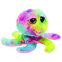Suki Gifts Lil Peepers Fun Octavius Octopus Plush Toy with Tie Dyed Material (Small, Yellow/Purple/Blue)