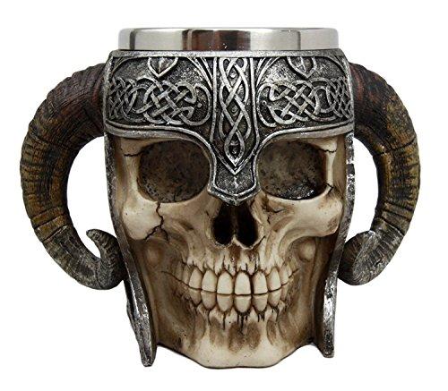 Ebros Geschenk Wikinger Ram Horned Pit Lord Warrior Totenkopf mit Schlachthelm Bierkrug Kaffeetasse Kaffeebecher 313 ml Norse Mythologie Folklore Odin Thor Loki Ragnarok Poetic Edda Dekor