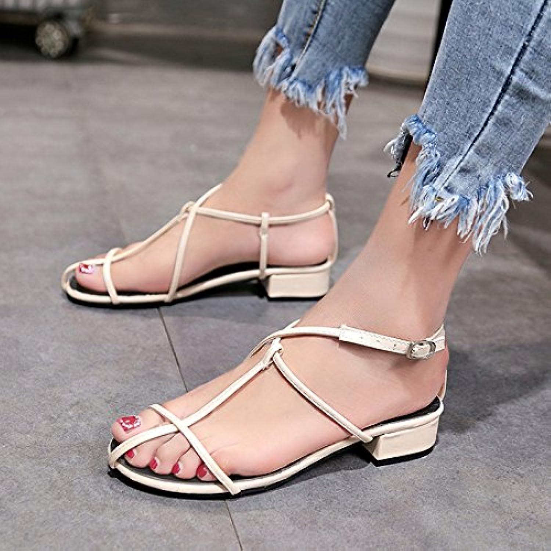 YMFIE Sandalias de verano con fondo plano y sexy toe zapatos,38 EU,Arroz blanco -