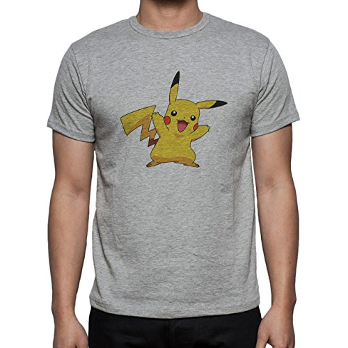 Pokemon Pikachu Electric Rat Yellow Hug Herren T-Shirt Grau