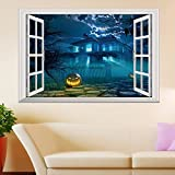3D-Wandbild Geöffnetes Fenster,3D Gefälschte Fenster Halloween Party Horrible Kürbis Wandaufkleber Tapete Pvc Poster Home Diy Geschenk Wohnzimmer Schlafzimmer Dekoration-70X100CM