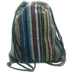 Bolso Mochila étnica de Tela de Lona con Cuerda para Mujer. Tipo Casual, Trabajo, Calle, Gimnasio, Deportes, Viaje, Playa, Piscina (Rayas Colores)