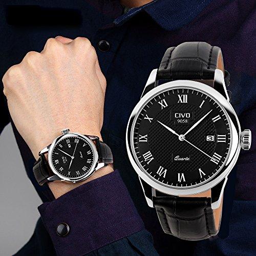 CIVO-Mens-Luxury-Black-Genuine-Leather-Band-Date-Calendar-Wrist-Watch-Mens-Casual-Business-Analogue-Quartz-Waterproof-Wrist-Watches-Classic-Roman-Numeral-Black-Dial-Fashion-Dress-Wristwatch