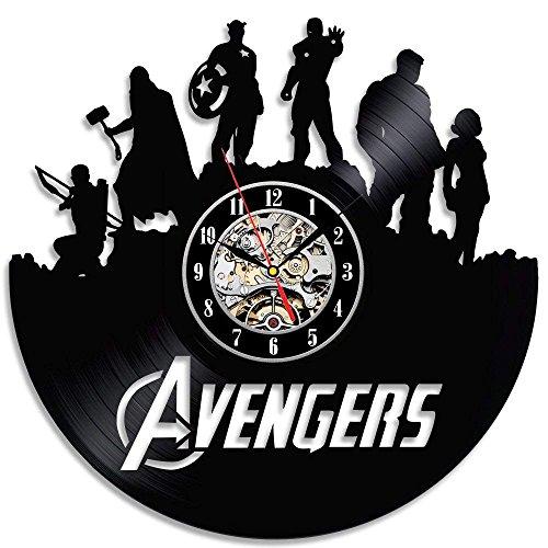 Avengers-Wanduhr, aus schwarzem Vinyl-Platten; kreatives Heimdekoration; Vintage-Design, zum Aufhängen von Zeit, Haushalt – Spezielles cooles Heimwerker-Poster, Kunstdruck, 3D-Aufkleber, 30,5 cm, rund