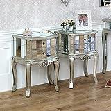 Tiffany Sortiment–Möbel Bundle Paar Nachttische 2Schubladen verspiegelt