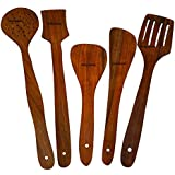 Worthy Handmade Wooden Serving And Cooking Spoon Kitchen Utensil Set Of 5