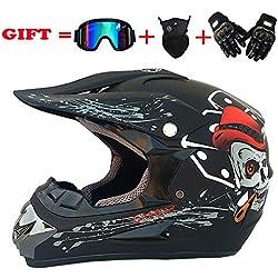NOMEN Adulte Motocross Casque MX Moto Casque ATV Scooter ATV Casque D. O. T Certified Rockstar Multicolor avec Lunettes Masques Gants (S, M, L, XL),L
