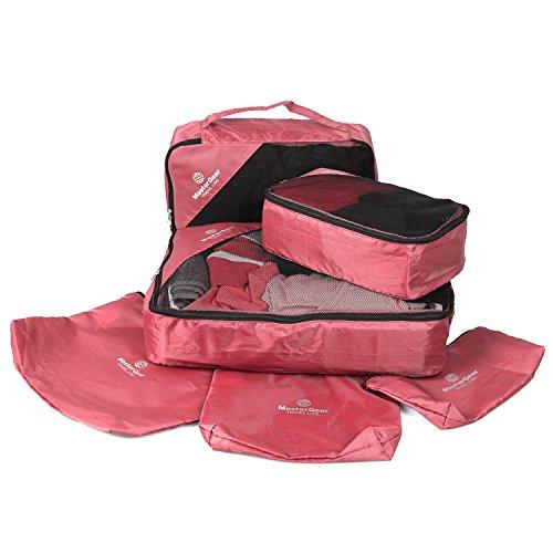 MasterGear Kleidertaschen Set in rot, 6-teiliges Reisetasche Set für Koffer, Packing Cubes, 3 Aufbewahrungstaschen + Wäsche-, Schuh-, Kosmetikbeutel, Paktaschen, Packwürfel