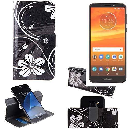 K-S-Trade Schutzhülle Motorola Moto E5 Plus Dual-SIM Hülle 360° Wallet Case Schutz Hülle ''Flowers'' Smartphone Flip Cover Flipstyle Tasche Handyhülle schwarz-weiß 1x