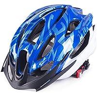 XDXDWEWERT Bicicleta Hombres Mujeres ventilación porosa Casco de Bicicleta de montaña de una Pieza Casco de Bicicleta (Azul)
