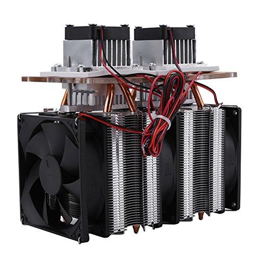 Akozon Peltier Kühlung Semiconductor Refrigeration 144W 12V Doppelkern Thermoelektrische Peltier Kühlung Cooler Luftkühlung Ausrüstung DIY Halbleiter Doppelkopf Kühler kit mit 3 stücke 9025 Lüfter -
