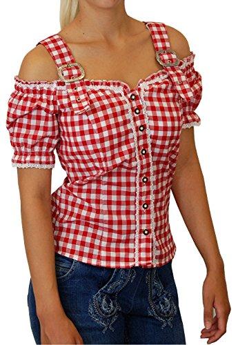 Lekra Sexy Carmenbluse Trachtenbluse Landhaus Mieder Kessy von trenditionals in verschiedenen Ausführungen, Größen:46;Farben:rot - weiss