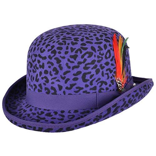 Maz Accessories Herren Melone schwarz schwarz 55 cm Gr. 59 cm, Violettfarbenes Leopardenmuster