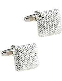 CIFIDET Gemelos Joyería cuadrada de plata de la camisa de los hombres de la moda de las mancuernas del metal con…