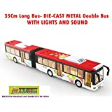 Toy-Station - Die CAST Metal Play Set - Perfect Toy Set For Kids (35 Cms Long Bus - Die-CAST Metal -with Lights & Sound - White)