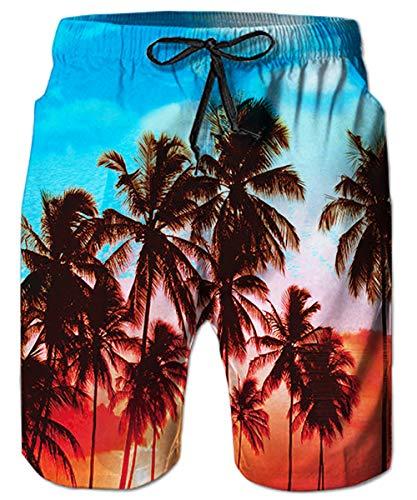 TUONROAD Short de Bain Homme Palmier Imprimé en 3D Bleu Maillot de Bain Séchage Rapide Swim Shorts Cordon de Serrage Réglable avec Doublure en Mesh Shorts de Plage Surf - L