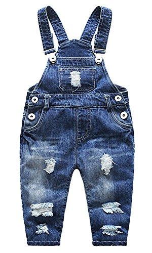 Feoya Junge Mädchen Baby Latzhose Overall Denim Lange Hose mit Hosenträger Loch Jeans Einteiler Jumpsuit
