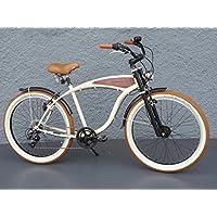'26Beach Cruiser per bicicletta Shimano 7marce mozzo dinamo Schwalbe beige effetto legno