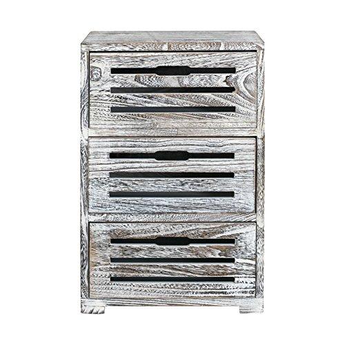 Rebecca mobili comodino cassettiera 3 cassetti legno paulownia bianco decapato shabby camera ingresso (cod. re4598)