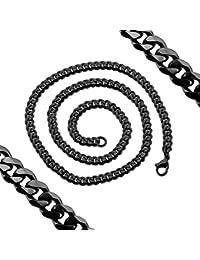 Collar cadena pulsera plana acero inoxidable sólido hombre mujer en negro en color plata y oro Ø 8mm