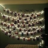 K-Bright foto clip, foto di foto LED String Lights,2,2 Metri, 20 Singoli,IP44 Catena Luminosa,batterie alimentato per San Valentino, Natale, compleanni, festa,Salotto, Camera da Letto, Patio, Alberi, Negozio,bianco freddo
