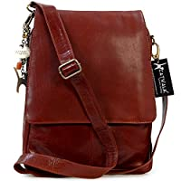 Catwalk Collection City A4 Messenger Work Bag - Tan Leather
