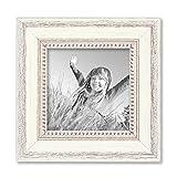PHOTOLINI Bilderrahmen Shabby-Chic Landhaus-Stil Weiss 15x15 cm Massivholz mit Glasscheibe und Zubehör/Fotorahmen