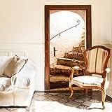 livingdecoration Türtapete Treppe 86 x 200 cm Stufen Eingang Tür Schloss Vintage Rustikal Tapete Fototapete inklusive Kleister