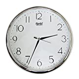 #3: Ajanta Quartz Silver Ring Plastic Wall Clock, Silver White