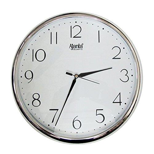 RedClub Ajanta Quartz Silver Ring Plastic Wall Clock, Silver White