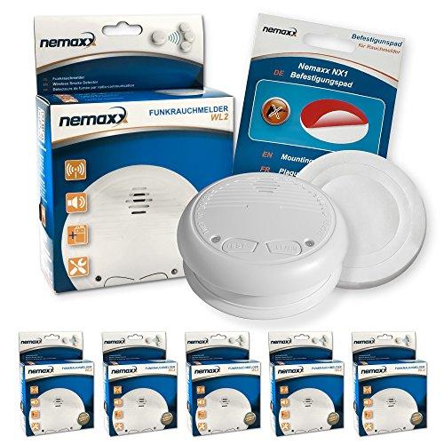 5x Nemaxx WL2 Funkrauchmelder Rauchmelder Brandmelder Set Funk koppelbar vernetzt - nach EN 14604 + 5x Nemaxx NX1 Quickfix Befestigungspad