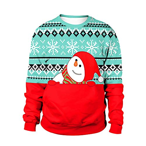 DEELI Ugly Christmas Sweater Damen Frohe Weihnachten Plus Size Pullover Printed Sweatshirt Tops Bluse
