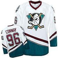 Movie Edition Traje de Hockey sobre Hielo, Hombres 96 Mighty Ducks Movie Hockey White/Ice Hockey Jersey / 96 White Duck White-White-L