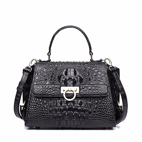 lpkone-Motif Crocodile sac à bandoulière sac à main sac fashion sac grande capacité Black