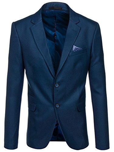 BOLF Herren Sakko mit Dekorative Knöpfe Elegant Slim Fit BIBLOS 2222 Blau 4XL/60 [4D4] (Zwei-knopf-blazer Einreiher Mit)