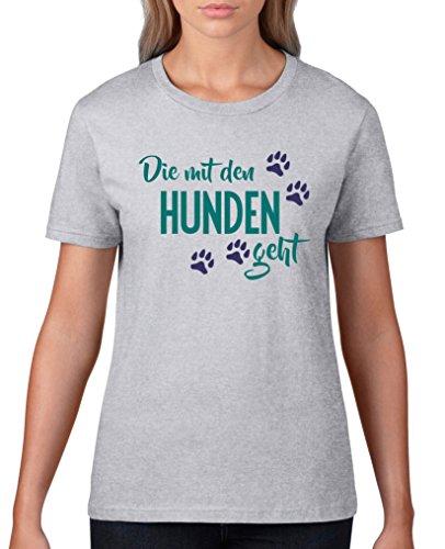 Comedy Shirts - Die mit den Hunden geht - Damen T-Shirt - Graumeliert / Türkis-Lila Gr. L