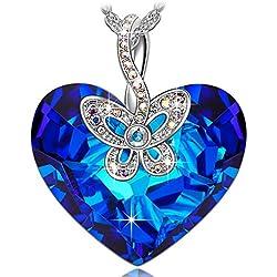 J.NINA Mariposa Amor Collar Mujer SWAROVSKI cristales Corazón Joyeria Regalos Cumpleanos Regalos Navidad Regalos San Valentin Dia De La Madre Regalos Dia De La Madre Regalo Aniversario para Mama Hija