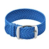 Ullchro Nylon Cinturini Orologi Alta qualità Perlon Intrecciata Tela di canapa Orologi Bracciale NATO - 14, 16, 18, 20, 22mm Cinturino Orologio Fibbia Dell'acciaio Inossidabile (20mm, blu)