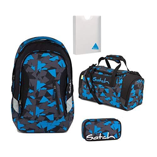 Satch SLEEK Blue Triangle 4er Set Schulrucksack + Sporttasche + Schlamperbox + Stylerbox -