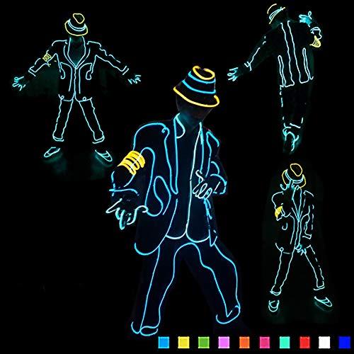 DHTW&R EL Kaltlicht Glühende Kleidung Jazz Fluoreszierender Tanz Performance-kostüm Nachtshow Beleuchtet Strichmännchen Mann Kostüm Batteriebetrieben Maskerade Party Kostüm,Pink,S