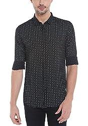 Spykar Mens Black Slim Fit Casual Shirts (Small)