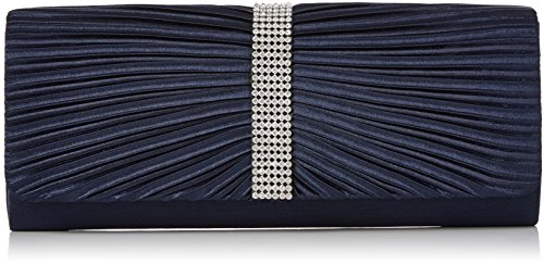 Womens Navy Blue Satin Diamante Ladies Pleated Bow Wedding Bridal Prom Handbag Clutch Bag