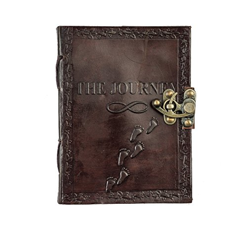 Pranjals House Leather Journal Diary With Engraved Journey Brown 7 x 5 Inch