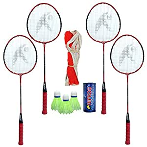 HIPKOO Standard Badminton Complete Kit (Set of 4), NET, Shuttlecock 3 PCS